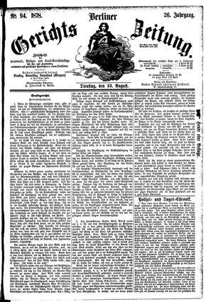 Berliner Gerichts-Zeitung vom 13.08.1878