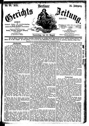 Berliner Gerichts-Zeitung vom 22.08.1878
