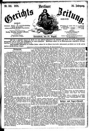 Berliner Gerichts-Zeitung vom 31.08.1878