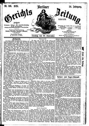 Berliner Gerichts-Zeitung vom 10.09.1878