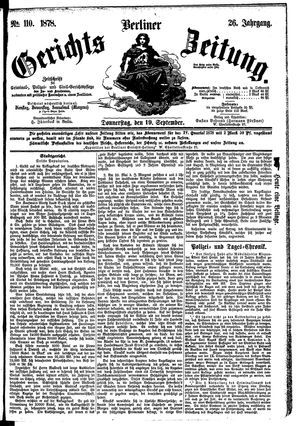 Berliner Gerichts-Zeitung vom 19.09.1878