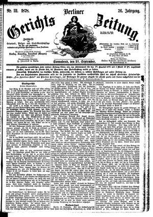 Berliner Gerichts-Zeitung vom 21.09.1878