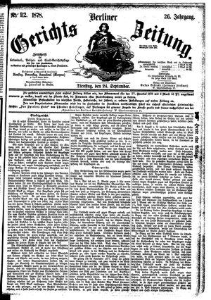 Berliner Gerichts-Zeitung vom 24.09.1878