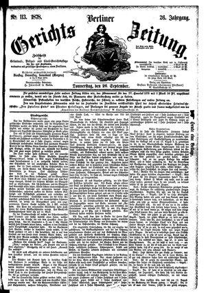 Berliner Gerichts-Zeitung vom 26.09.1878