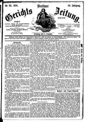 Berliner Gerichts-Zeitung vom 01.10.1878