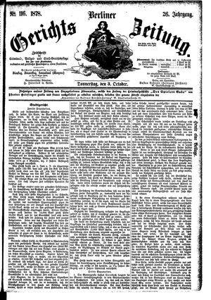Berliner Gerichts-Zeitung vom 03.10.1878
