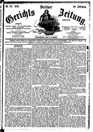 Berliner Gerichts-Zeitung vom 05.10.1878