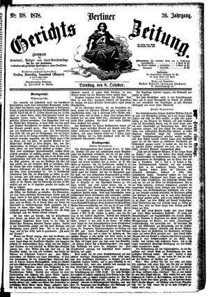Berliner Gerichts-Zeitung vom 08.10.1878