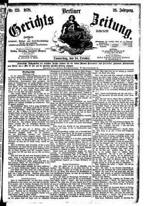 Berliner Gerichts-Zeitung vom 24.10.1878