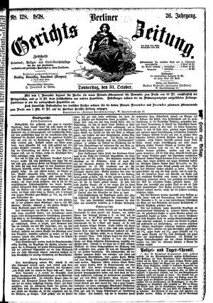 Berliner Gerichts-Zeitung on Oct 31, 1878