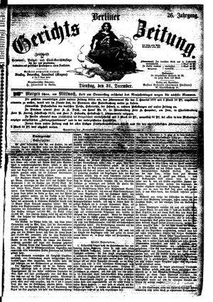Berliner Gerichts-Zeitung vom 31.12.1878