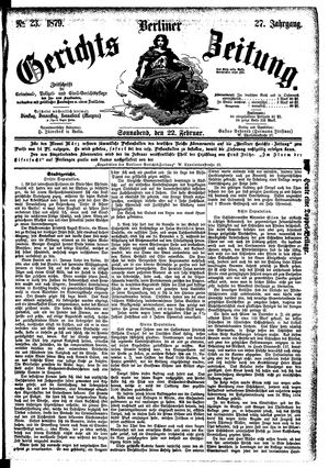 Berliner Gerichts-Zeitung vom 22.02.1879