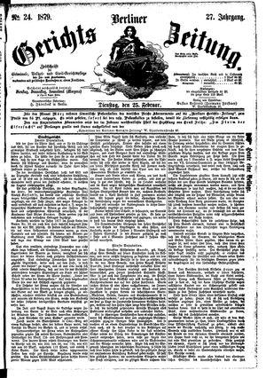 Berliner Gerichts-Zeitung vom 25.02.1879
