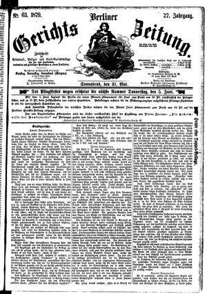 Berliner Gerichts-Zeitung vom 31.05.1879