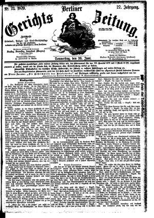 Berliner Gerichts-Zeitung vom 26.06.1879