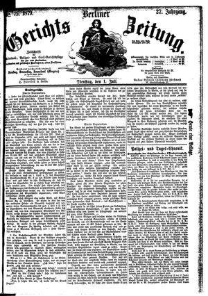 Berliner Gerichts-Zeitung vom 01.07.1879