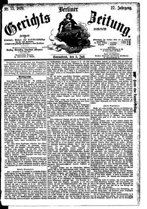 Berliner Gerichts-Zeitung vom 05.07.1879