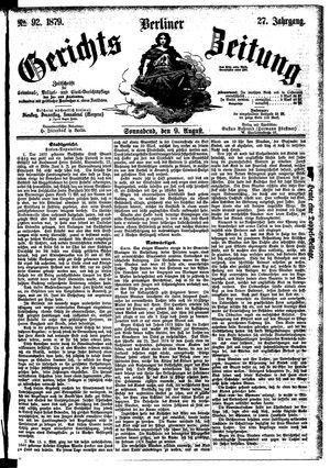 Berliner Gerichts-Zeitung vom 09.08.1879