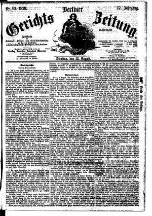 Berliner Gerichts-Zeitung vom 12.08.1879