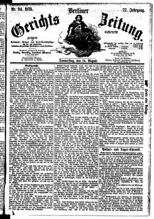Berliner Gerichts-Zeitung vom 14.08.1879