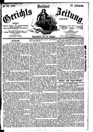 Berliner Gerichts-Zeitung vom 16.08.1879