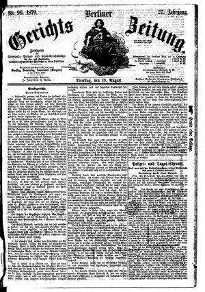 Berliner Gerichts-Zeitung vom 19.08.1879
