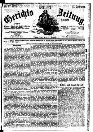 Berliner Gerichts-Zeitung vom 21.08.1879
