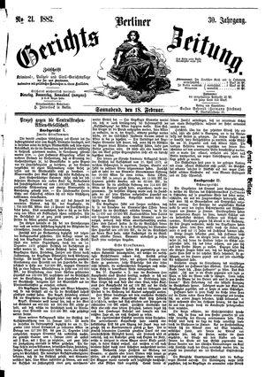 Berliner Gerichts-Zeitung vom 18.02.1882