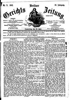 Berliner Gerichts-Zeitung vom 22.06.1882