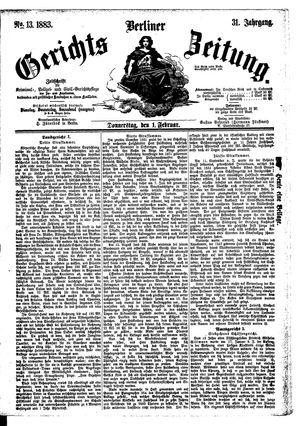 Berliner Gerichts-Zeitung vom 01.02.1883