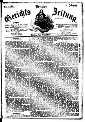 Berliner Gerichts-Zeitung vom 20.02.1883