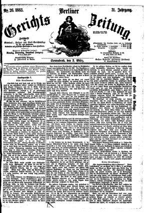 Berliner Gerichts-Zeitung vom 03.03.1883