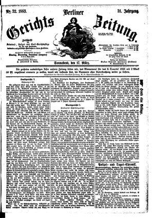 Berliner Gerichts-Zeitung vom 17.03.1883