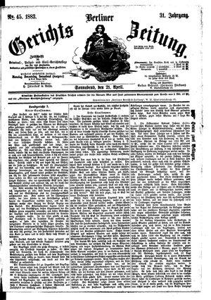 Berliner Gerichts-Zeitung vom 21.04.1883