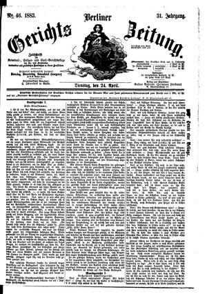 Berliner Gerichts-Zeitung vom 24.04.1883