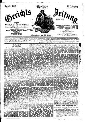 Berliner Gerichts-Zeitung vom 28.04.1883