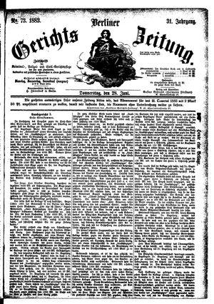 Berliner Gerichts-Zeitung vom 28.06.1883