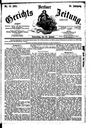 Berliner Gerichts-Zeitung vom 22.01.1885