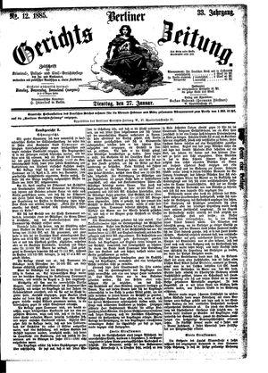 Berliner Gerichts-Zeitung vom 27.01.1885