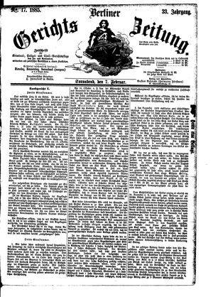 Berliner Gerichts-Zeitung vom 07.02.1885