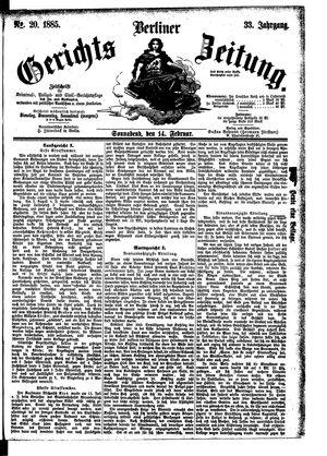 Berliner Gerichts-Zeitung vom 14.02.1885