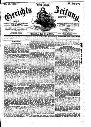 Berliner Gerichts-Zeitung vom 26.02.1885
