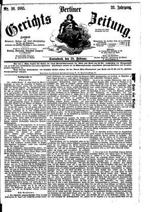 Berliner Gerichts-Zeitung vom 28.02.1885