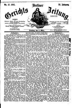 Berliner Gerichts-Zeitung vom 03.03.1885