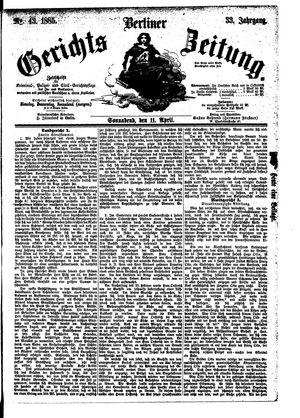 Berliner Gerichts-Zeitung vom 11.04.1885