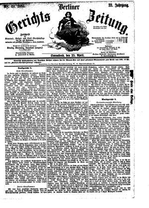 Berliner Gerichts-Zeitung on Apr 25, 1885