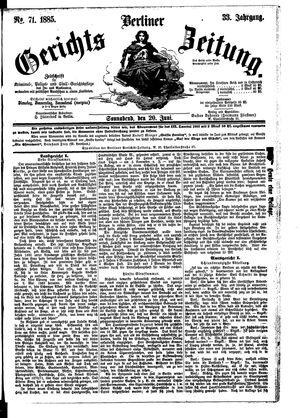 Berliner Gerichts-Zeitung vom 20.06.1885