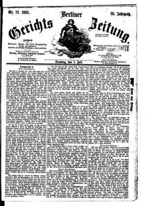 Berliner Gerichts-Zeitung vom 07.07.1885