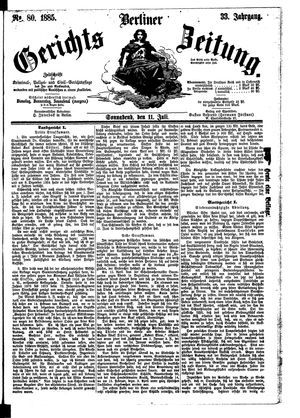 Berliner Gerichts-Zeitung vom 11.07.1885