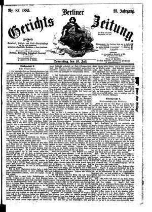 Berliner Gerichts-Zeitung vom 16.07.1885